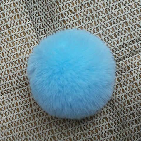 NianFox 5 CENTÍMETROS Pompom Adorável falso bola de Pele de Coelho Imitação Chaveiro Chaveiro Bola De Cabelo Do Coelho Rex Lã Como Bola para decoração da sapata