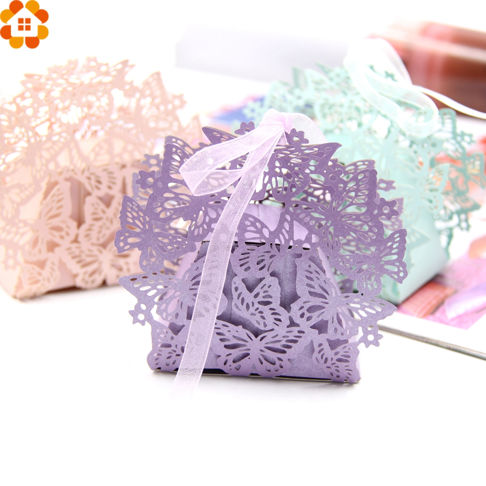 20PCS Lovely Butterfly Candy Box Wedding Favors Paper Gift Box DIY Handmade Candy Boxes Baby Shower/Wedding Party Decoration