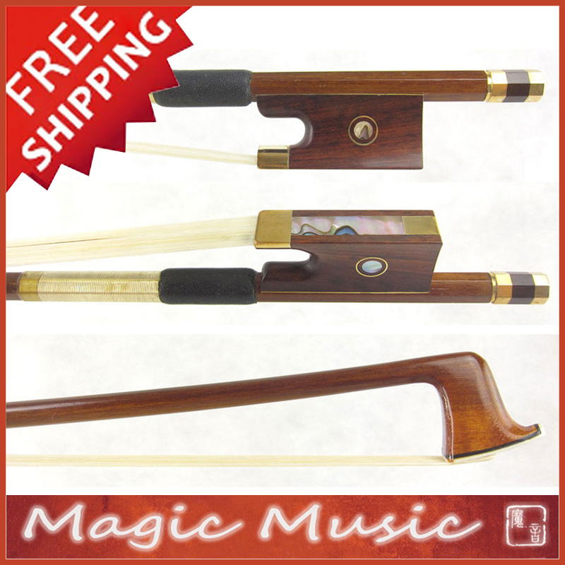 Free Shipping Gold Alloy Fitted PERNAMBUCO Violin Bow with Snakewood Frogs 4 4 Good Balanced Quick