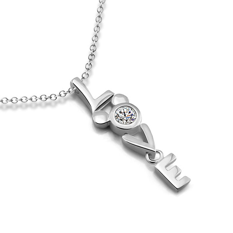 Valentine's Day Fashion Sterling Silver Letter LOVE Necklace Solid 925 Silver Cube Mickey Pendant Chain Woman / Girl Jewelry