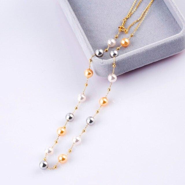 9c8846344383 Cadena imitación perlas Collares para las mujeres 2018 Nueva joyería de  moda suéter cadena collar de