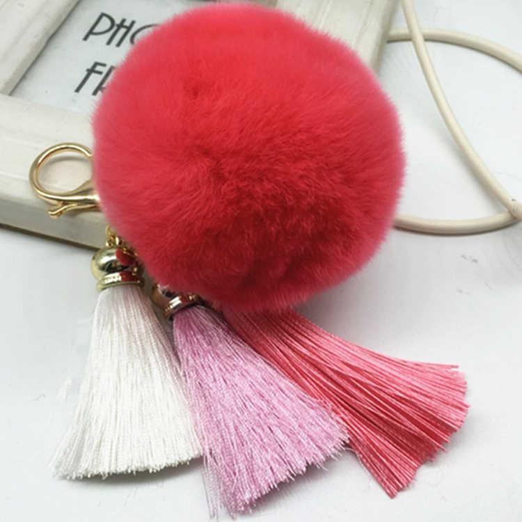 Felyskep Moda Real Rabbit Fur Pom Pom Bola Com Chaveiro Borla Pele De Coelho Fofo 012WA Chaves Anel Atacado