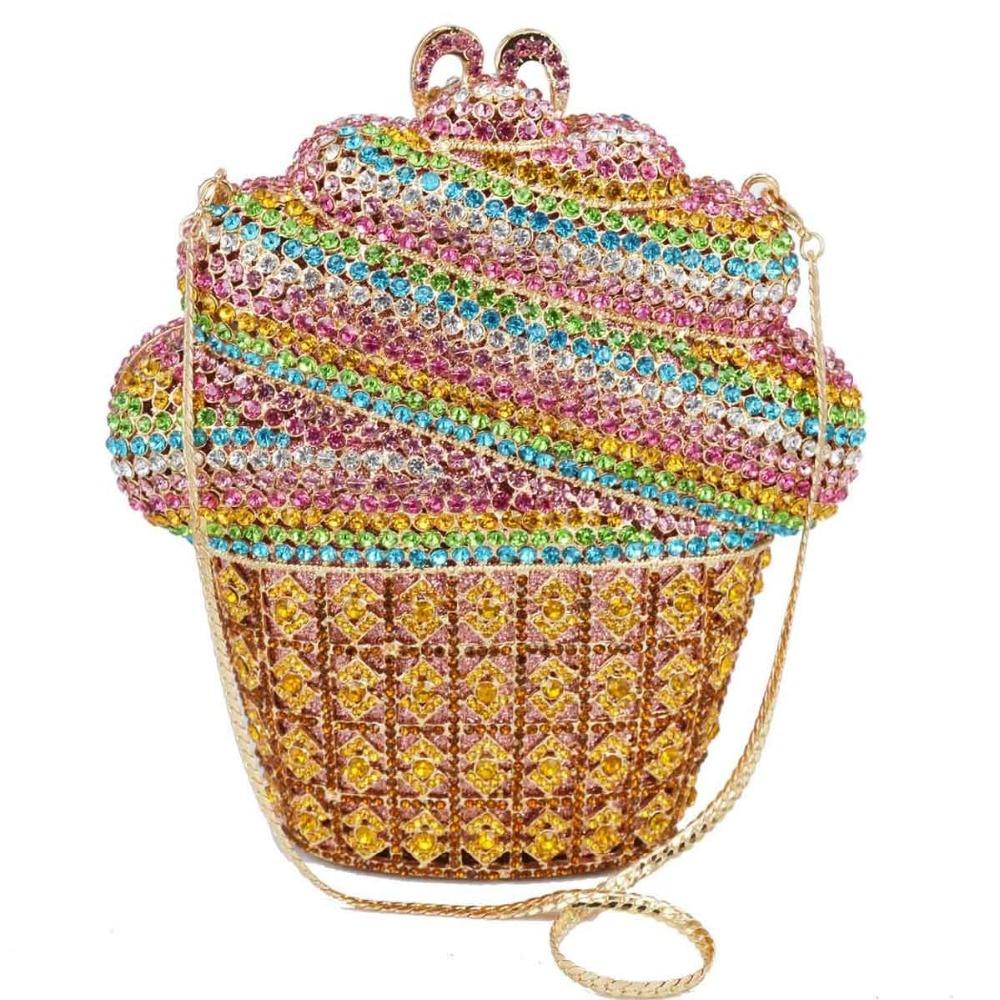 Date de luxe glace cristal sac de soirée or argent CupCake fête de mariage bal embrayage sac à main chaîne sac à bandoulière SC621-in Embrayages from Baggages et sacs    1