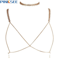1 Set Sexy Women Golden Bra Chain Bikini Beach Cross Body Chain Gothic Metal Braided Flower