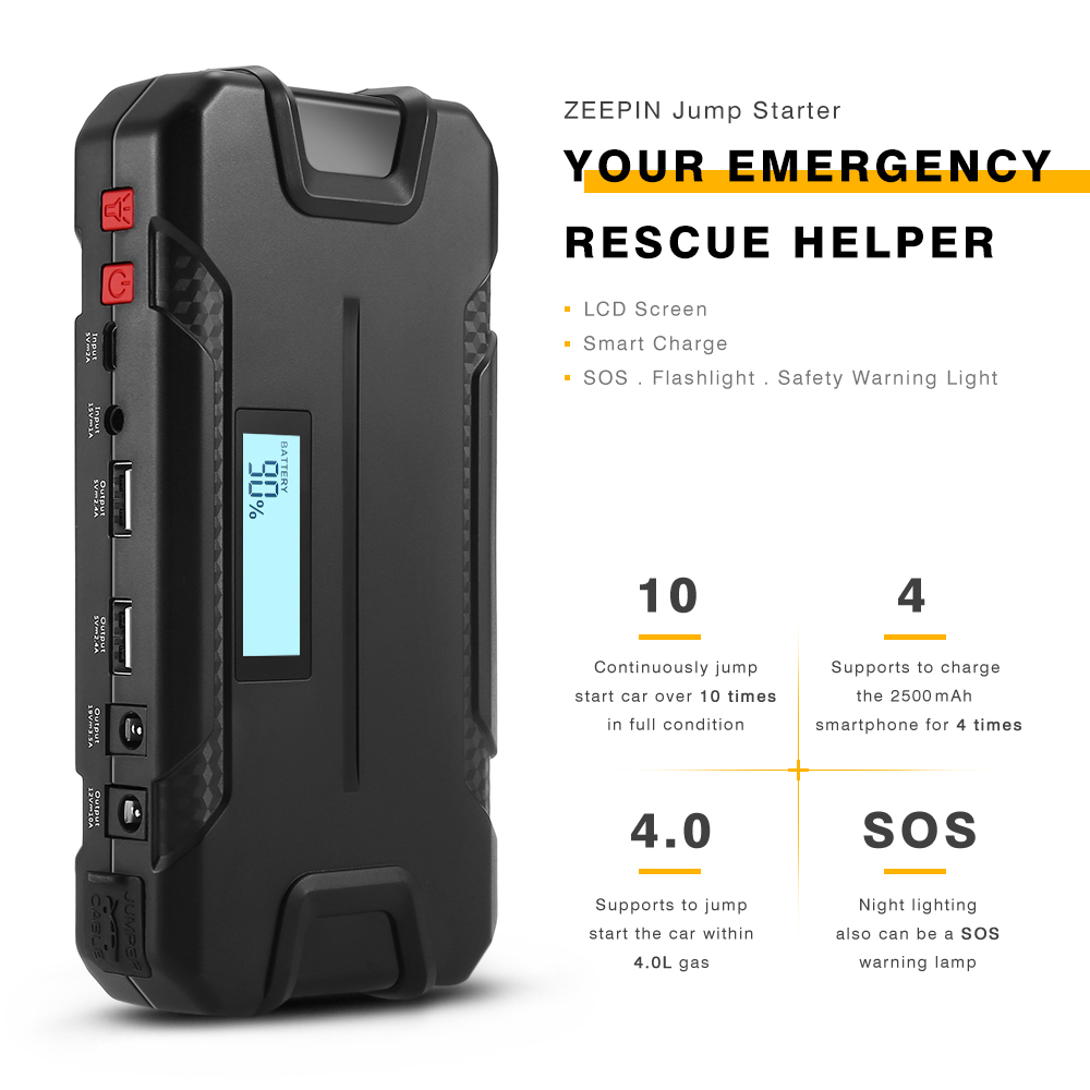 ZEEPIN 12000mAh LCD Screen Car Jump Starter USB Charge SOS Light 400A Car Peak Battery Charger Emergency Auto Power Bank Booster