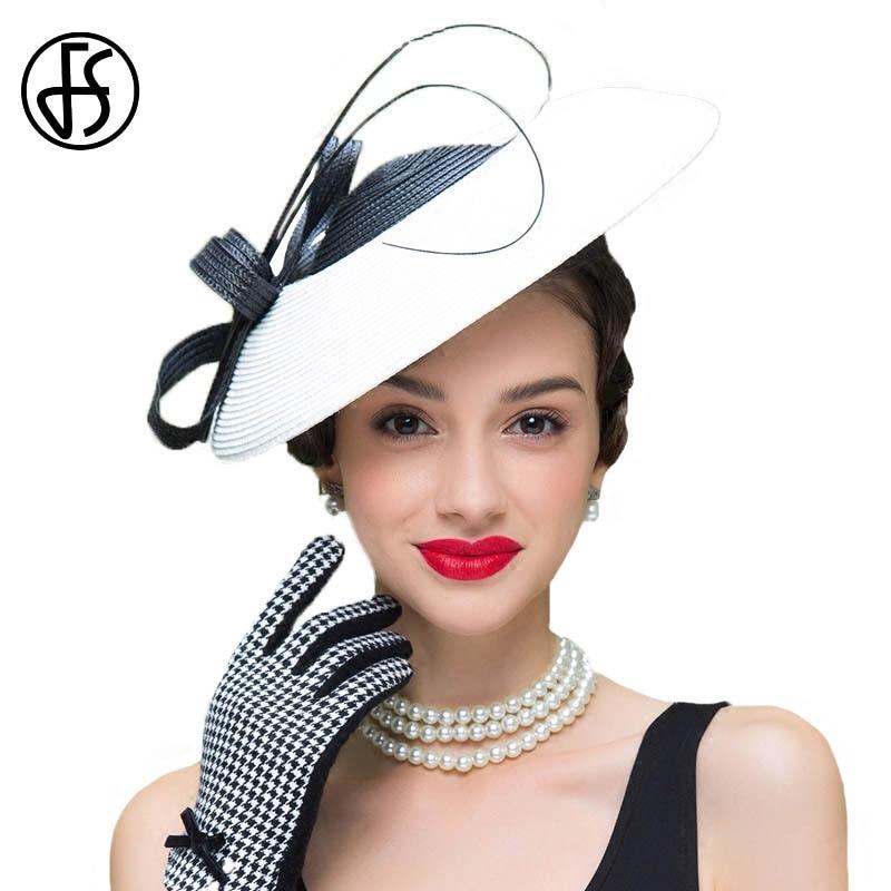 25309245f52b0 Aliexpress.com  Comprar FS tocados blanco y negro bodas sombrero para las  mujeres Fedora paja Vintage Iglesia vestido Sinamay sombreros Derby de  pillbox hat ...