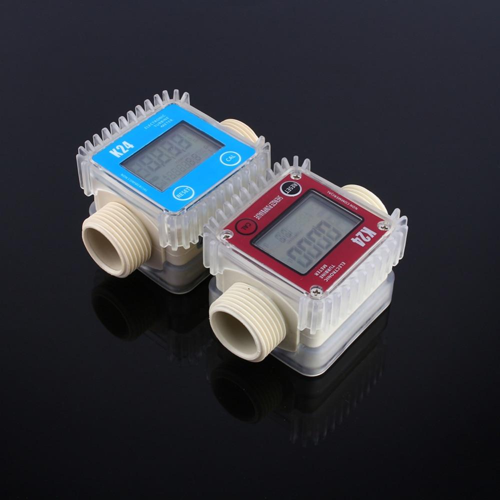 Newest K24 LCD Turbine Digital Diesel Fuel Flow Meter for Chemicals Water Sea Adjust Random Color Digital Water Flow Meter