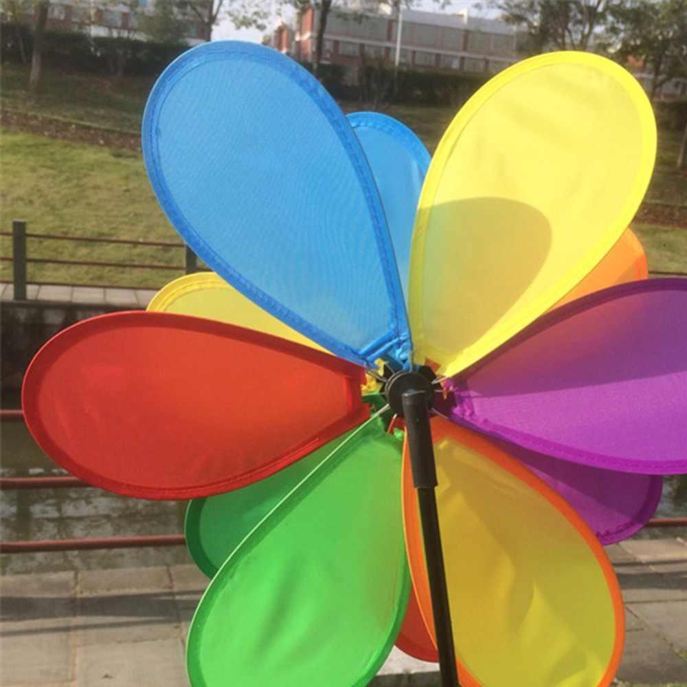 Ветряная мельница в виде подсолнечника, духовой Спиннер, Радужный ветрячок для дома, ярд, декоративная игрушка подарок для мальчиков и девочек, малышей
