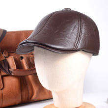 Mens 100% Real Leather Cowhide Military Earmuff Army Beret Golf Cap Newsboy Hats/caps
