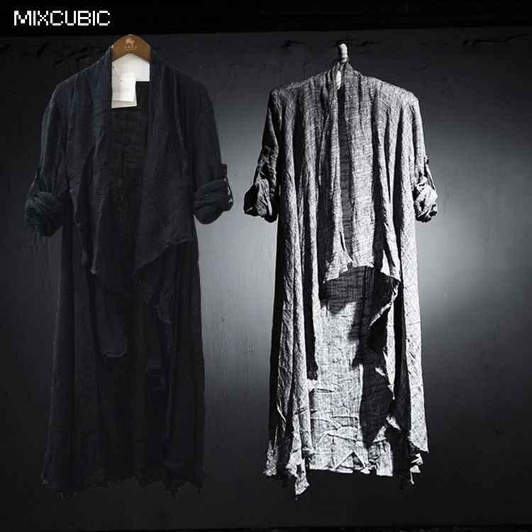 MIXCUBIC, новинка, весна-осень, британский стиль, элегантные костюмы, льняные рубашки, мужские, черные, длинные, повседневные, свободные, льняные рубашки для мужчин