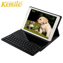 Kemile For apple New ipad 2018 Ultra Slim Glass Bluetooth 3.0 Keyboard Case for New iPad 2017 9.7 Stand W Removeable Keyboard new membrane keyboard for beijer e200 repair new 100