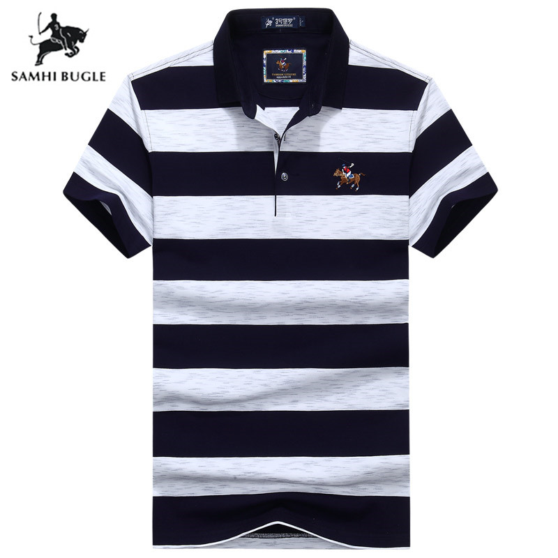 2019 New Arrival Embroidery Horse Logo   Polo   Shirt Men Brand Short Sleeve Cotton Striped Casual Business Men's   Polo   Shirt