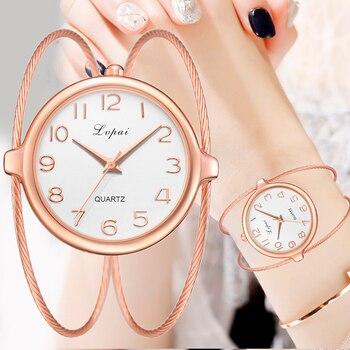 ee478645bf2a Las mujeres de moda de lujo reloj de pulsera de cuarzo relojes oro rosa  pequeño y exquisito Lvpai marca señoras reloj Casual LP353