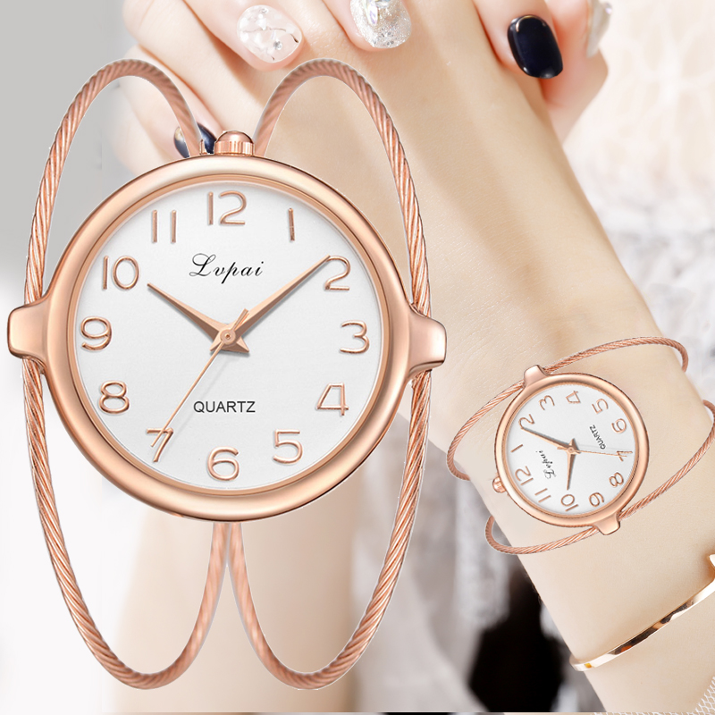 Women Fashion Luxury Watch Bracelet Quartz Dress Watches Rose Gold Small And Exquisite Lvpai Brand Ladies Casual Clock