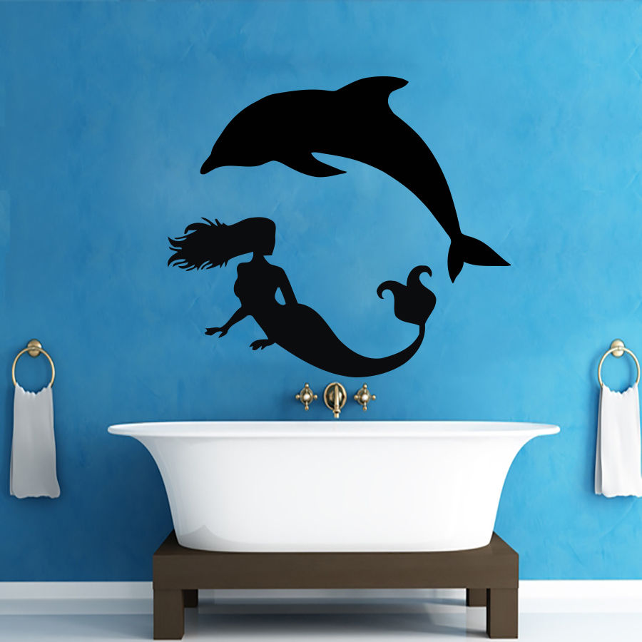 Mermaid bathroom accessories - Hot Sale The Little Mermaid Playing Dolphin Wall Decals Girl Decor Vinyl Wall Sticker Mermaid Art
