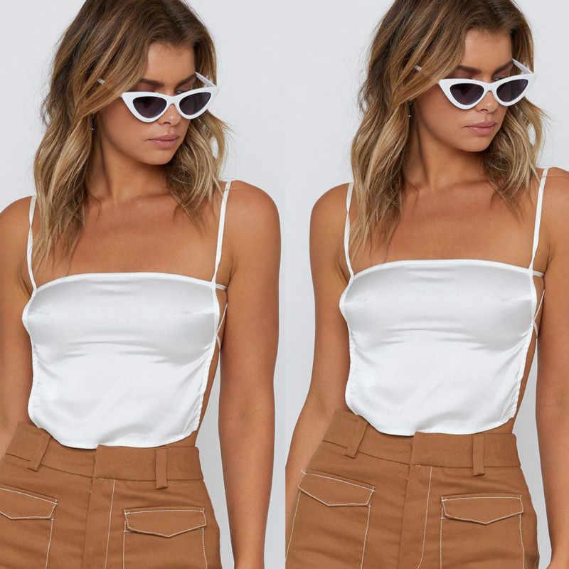 652f126e0c645d Women Silk Satin Plain Sleeveless Strappy Cami Camisole Vest Tank Top S-L