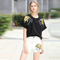 Fowice High Quality 2017 New Fashion Women 2 Pieces Tigers Embroidery Loose T Shirt Short Jeans