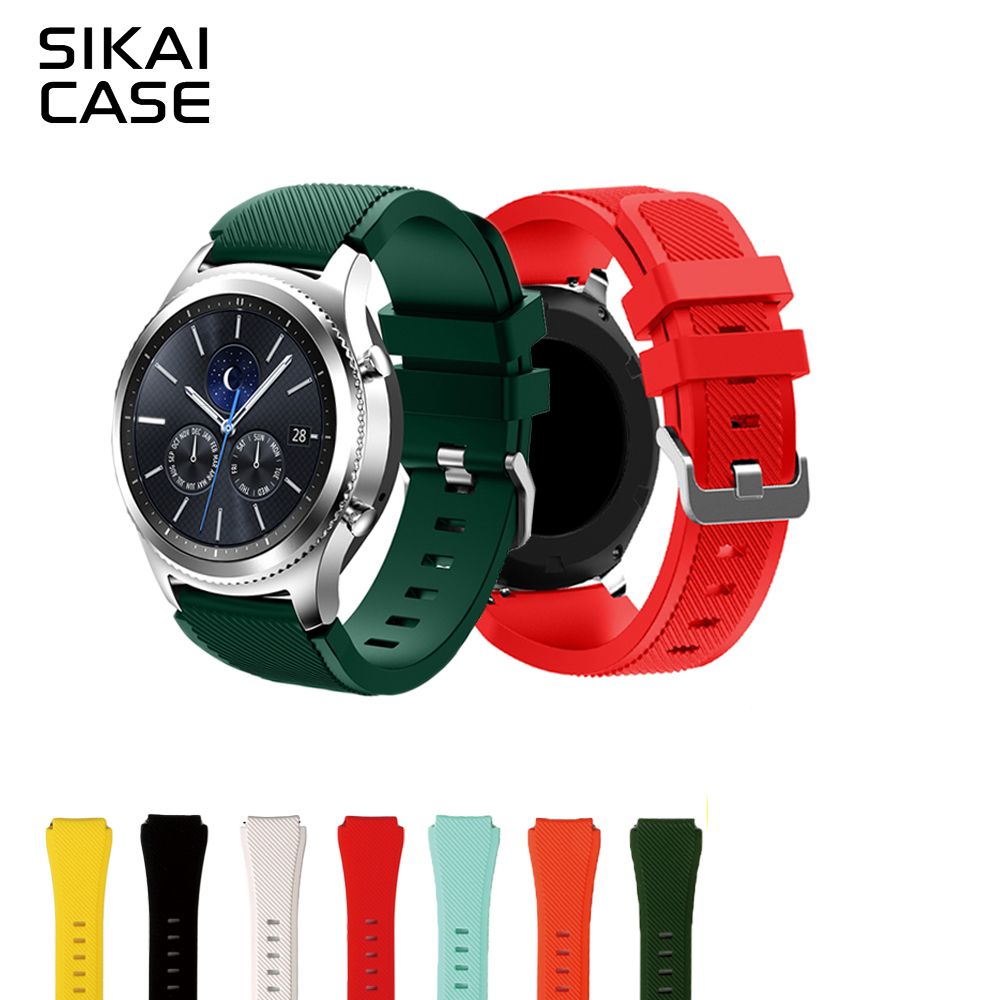 SIKAI 22mm Colorful Replacement Silicone Bracelet for Samsung Gear S3 Smartwatch Band for Gear S3 Classic Frontier Strap silicone sport watchband for gear s3 classic frontier 22mm strap for samsung galaxy watch 46mm band replacement strap bracelet