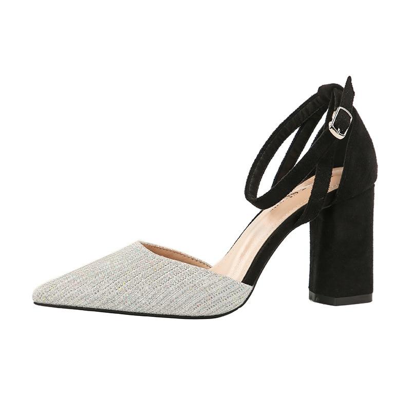 Cinturón Profesionales Mujeres Atractivas Club Del Con 1038 Tacones Señaló Negro Grueso Un gris rojo Zapatos Corea De Las Moda Altos plata 8 qqxzCvTwZ