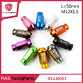 M12x1.5 D1 Spec JDM Billet Aluminum Wheel Racing Lug Nuts P:1.5, L:50mm 20pcs/pack  RS-LN007