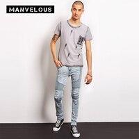 Manvelous Motorcycle Pants Jeans Mens Fashion Casual Cotton Denim Trousers Light Blue Men S Motorcycle Racing