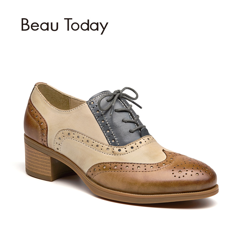 BeauToday Oxfords Women Shoes Genuine Leather Wingtip Lace-Up Round Toe Mixed Colors Sheepskin Brogue Shoes Chunky Heel 15116 qmn women crystal embellished natural suede brogue shoes women square toe platform oxfords shoes woman genuine leather flats