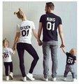 Família Correspondência T-shirt de Algodão da Rainha do Rei Príncipe Princesa T camisa Roupas Roupas Família Família Pai-Filho Conjunto Estilo 3XL YR8