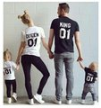 Family Matching Cotton T-shirt King Queen Prince Princess T shirt Clothes Family Clothing Parent-Child Family Style Set 3XL YR8