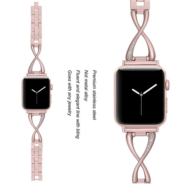 JANSIN Bands for Apple Watch 38mm 40mm 42mm 44mm Women Jewelry Stainless Steel Crystal Diamond Strap for iWatch Series 4 3 2 1