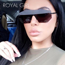 ROYAL GIRL Women Brand Designer Sunglasses Unique Rimless Mirrored lens Oversized Glasses 2017 new ss501