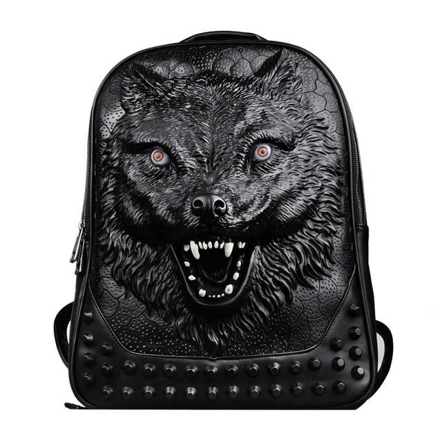 a5b2ed3feebc placeholder 2016 new stylish backpacks 3D wolf head backpack special cool  shoulder bags for teenage girls PU