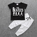 2pcs/set comfortable soft baby boys Short sleeve T-shirt alphabet figure printing kids cotton pullover Clothing Sets
