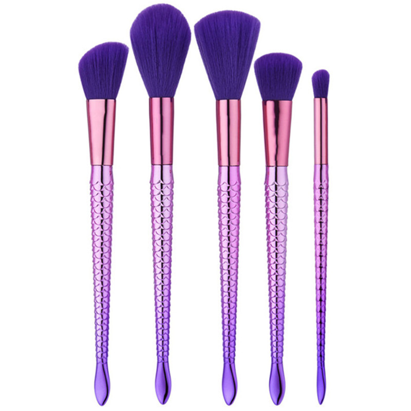 5Pcs Beauty Purple Hair Mermaid Brush Foundation Loose Powder Eyeshadow Brush Cleaner Fish Scale Face Make Up Brush Set shiyu syz 779 rechargeable lint remover cleaner w brush deep purple pink 220v