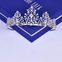 Cubic Zirconia Princess Tiara Bridal Wedding Engagement Headband Crown Hair Jewelry Gifts Women Evening Party Headpiece Hairband