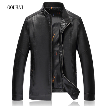 XL-8XL Solid Leather Jacket Men's Coat 2019 Fashion Casual Autumn Winter Jacket For Men Leather Jackets Stand Collar Top Quality