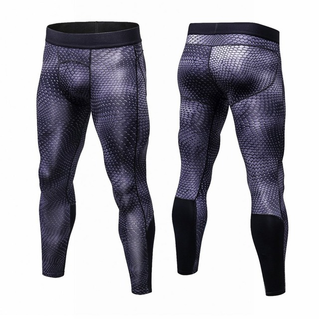 OUTAD Yuerlian Men 3D Floral Printed Compression Tight Yoga Pants Sports Bodybuilding