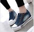 Мода Классический горячий стиль омывается джинсовой холст обувь студенток увеличилась толстым дном ткань обувь повседневная женская обувь