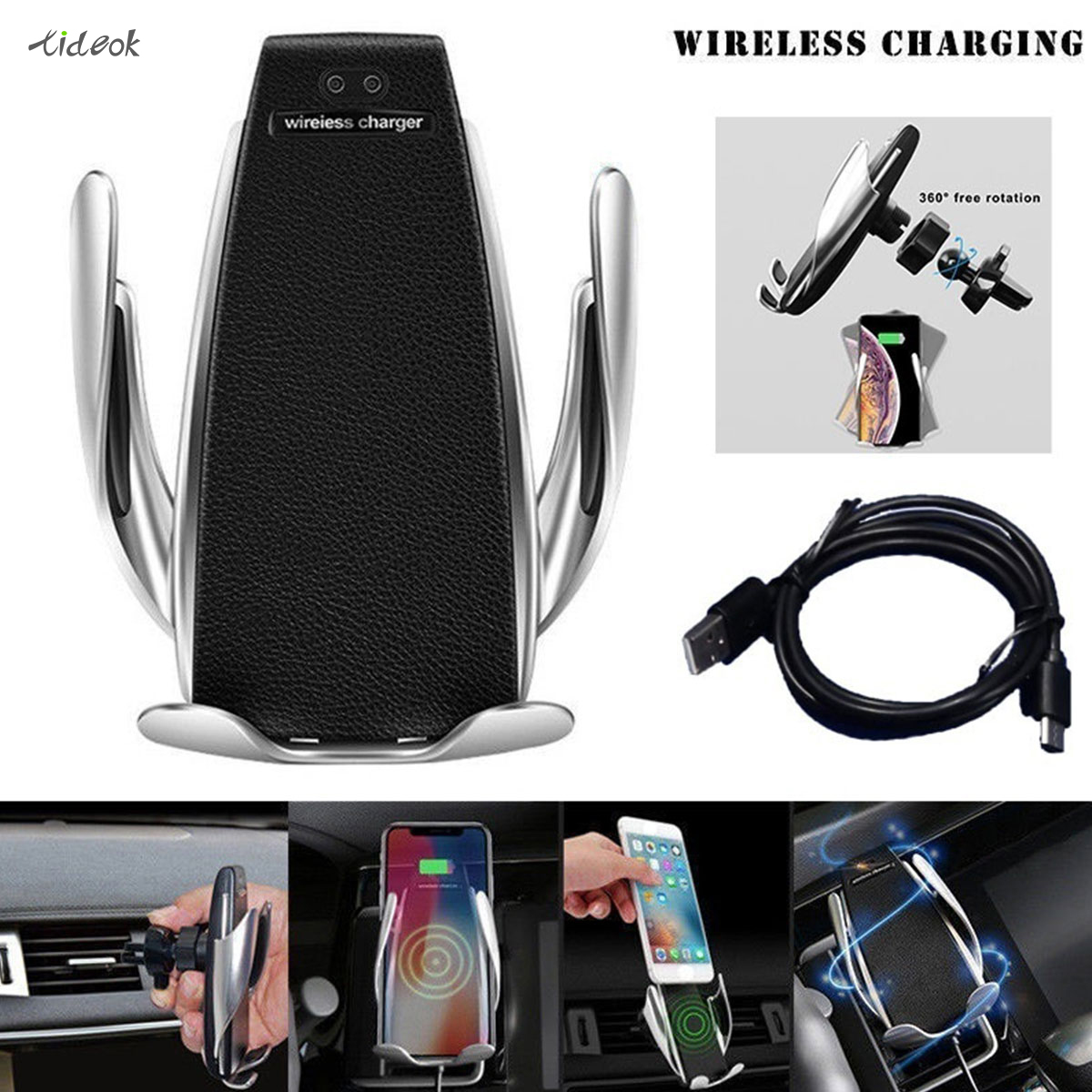 Phone-Mount-Bracket Car-Phone-Holder Charging-Car-Charger Android iPhone Automatic Wireless title=