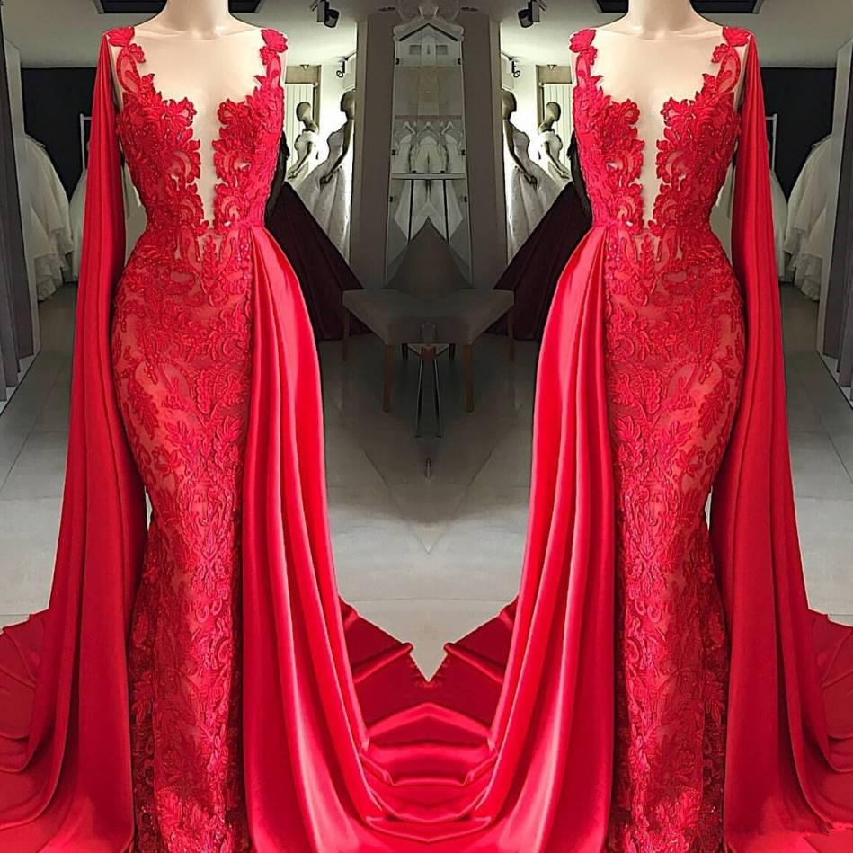 Red Muslim   Evening     Dresses   2019 Mermaid Appliques Lace Plus Size Islamic Dubai Saudi Arabic Long   Evening   Gown Prom   Dresses
