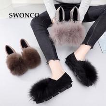 SWONCO Women's Loafers 2018 Autumn Winter Warm Plush Casual Girl Shoes