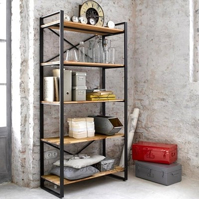 American Vintage wood shelf bookcase shelves Iron Floor Stands TV backdrop decorative frame Hot