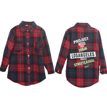 Girls Blouse Kids Shirts 2 13Y Fashion Long Plaid Letter Print Blouse Kids Baby Tops Girls