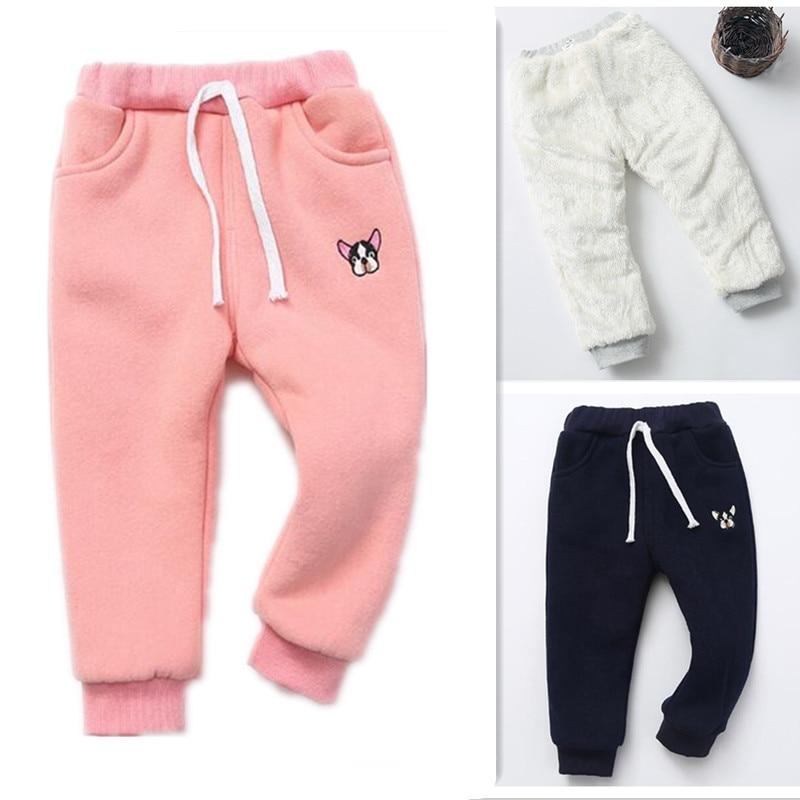 Funfeliz 2018 Winter Kids Warm Pants Thick Fleece Velvet for Girls Children Boys Trousers Leggings
