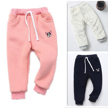 лучшая цена Funfeliz 2018 Winter Kids Warm Pants Thick Fleece Velvet Pants for Girls Winter Children Pants Boys Trousers Girls Warm Leggings