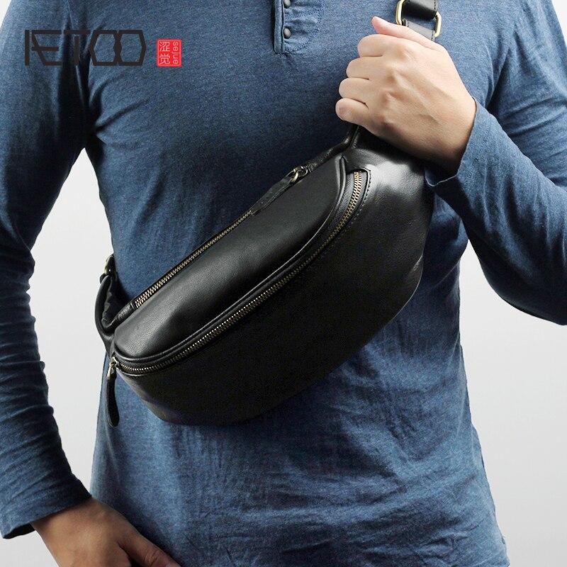 AETOO мужской кожаный сундук сумка Повседневная Открытый косой крест маленькая сумка тренд мобильный телефон Baotou слой яловая поясная сумка