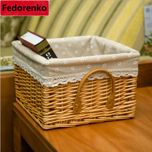 decorative natural wicker rattan baskets storage organizer kitchen closet desktop Sundries boxes laundry basket