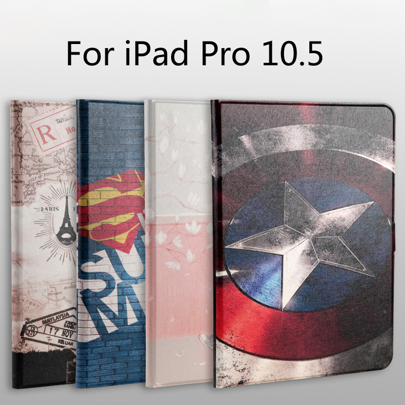 New 2017 Fashion painted Pu leather stand holder Cover Case For iPad Pro 10.5 inch tablet + Film + Stylus