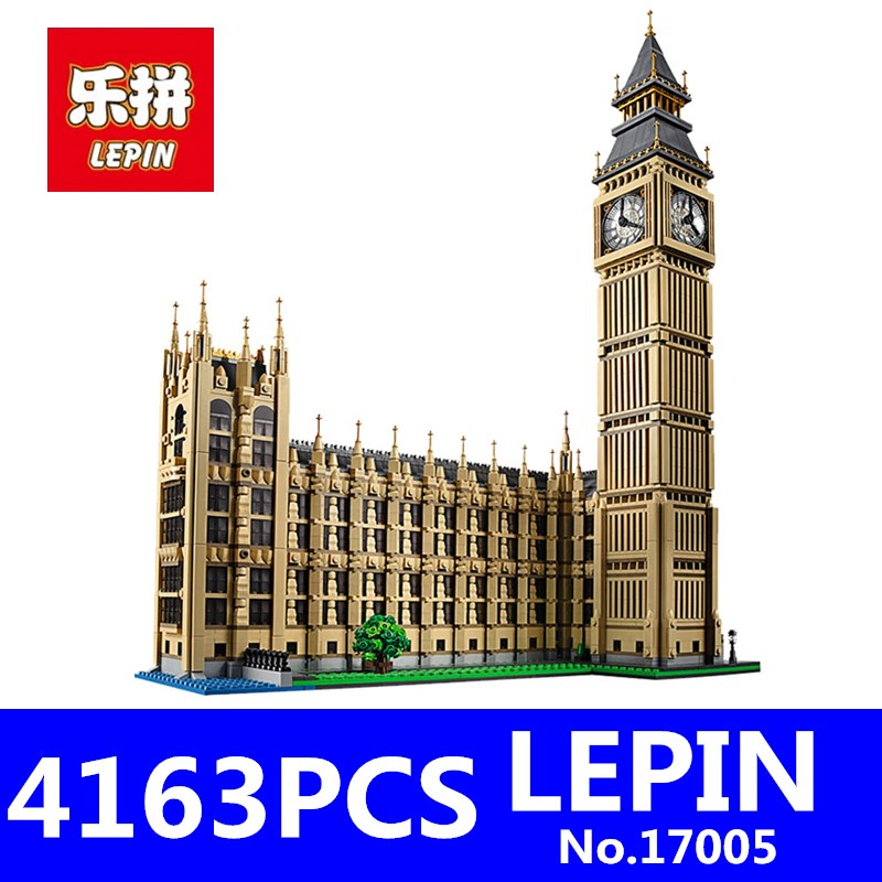 LEPIN 17005 4163Pcs Big Ben Elizabeth Tower Kits Model Building Blocks Bricks Educational Toys for Children Compatible 10253 lepin 17005 4212pcs street view series london big ben model building blocks set bricks toys for children gift 10253