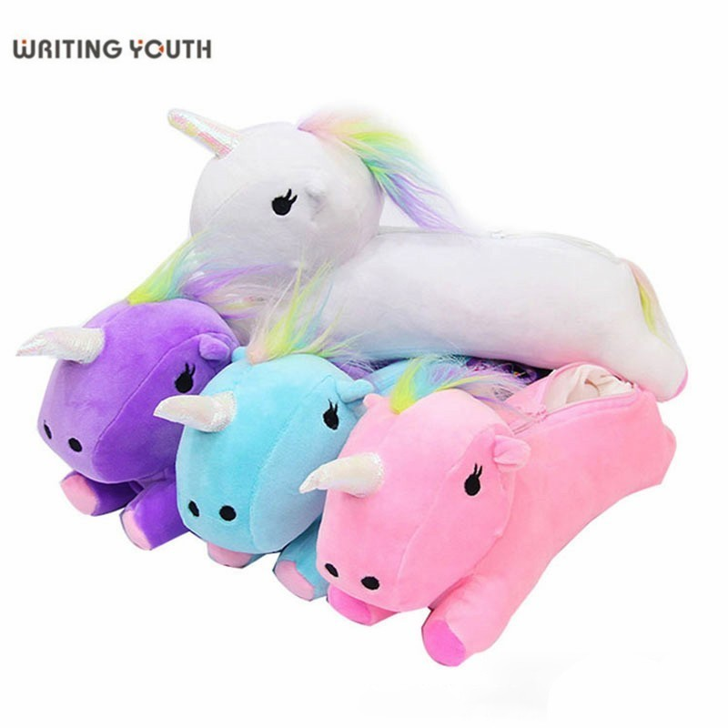 Cute Unicorn Pencil Case Quality Fabric Pencil Bag Sofe Pencilcase Offic School Supplies Tools Student Stationery Gift For Kids