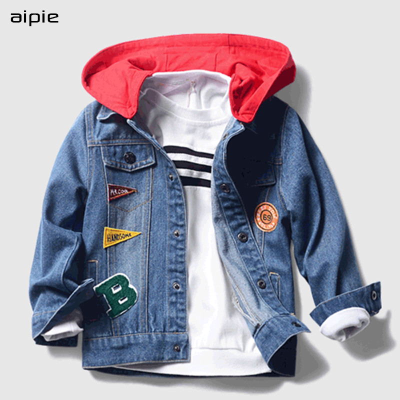 aipie 1pcs Children boys Denim Jackets New 2018 Spring Casual Solid Full Hooded Coats For 2-10 years kids outerwearaipie 1pcs Children boys Denim Jackets New 2018 Spring Casual Solid Full Hooded Coats For 2-10 years kids outerwear